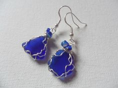 Cobalt blue sea glass and crystal bead dangle earrings sterling silver earwire #Handmade #DropDangle