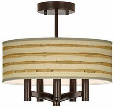 Ava Bamboo Wrap Art Shade Semi Flushmount Ceiling Light - #EUY0035-2G068 - Euro Style Lighting