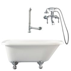 Giagni Augusta White Acrylic Oval Clawfoot Bathtub with Reversible Drain (Common: 30-in x 54-in; Actual: 22-in x 29.5-in x 54-in)