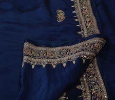 Vintage Indian Saree 100 Pure Satin Silk Hand Beaded Craft Fabric Ethnic Sari | eBay