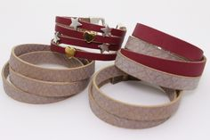kombinierte Armbänder in Schlangenleder doppelt oder 3-fach mit Lederband Weinrot