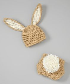 This Tan Crocheted Bunny Ear Beanie & Diaper Cover - Infant by Just For Baby With Love is perfect! #zulilyfinds