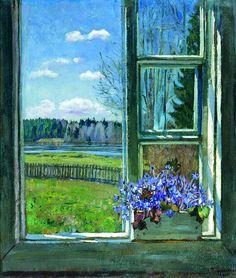 Window with Violets - Stanislav Zhukovsky. 1931