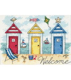 Beach Houses Mini Counted Cross Stitch - Cross Stitch Kits I Love Cross Stitch Counted Cross Stitch Kits, Cross Stitch Charts, Cross Stitch Patterns, Cross Stitching, Cross Stitch Embroidery, Embroidery Patterns, Dimensions Cross Stitch, Beach Quilt, Everything Cross Stitch
