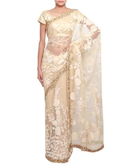 Cream saree with embossed thread embroidery only on Kalki $429