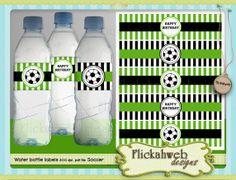 soccer water bottle labels printable digital instant by flickahweb, $2.00