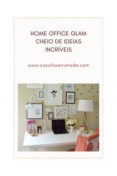 Hoje trouxe para vocês uma inspiração linda de decoração para o home office. Estilo Glam, Home Office, Gallery Wall, Frame, Home Decor, Bedroom Decor, Ideas, Houses, Picture Frame