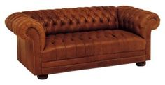 "Chesterfield ""Designer Style"" Tufted Leather Furniture Collection: Chesterfield ""Designer Style"" Leather Tufted Studio Full Sleeper Sofa"