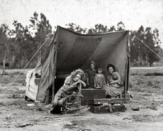 """Dorothea Lange, Mother and Children in Tent Camp: 1936. If you ever wanted to see a wider shot of the famous Depression Era """"Migrant Mother"""" photograph. via Shorpy"""