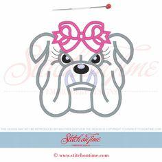28 Bulldog : Female Bulldog Applique 6x10