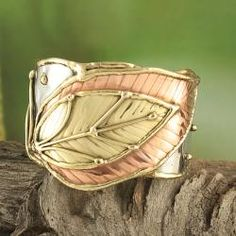 Handcrafted Wide Brass/ Copper Leaf Cuff Bracelet by Kirti a Metal Smith from Nagpur, India - Overlapping leaves in brass & copper on silvertone metal.