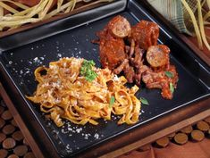 Get Fettuccine with Salsiccia and Brisket Sauce Recipe from Cooking Channel
