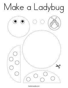 Make a Ladybug Coloring Page - Twisty Noodle Bug Coloring Pages, Ladybug Coloring Page, Preschool Coloring Pages, Preschool Worksheets, Preschool Learning, Toddler Activities, Learning Activities, Preschool Activities, Fairy Coloring