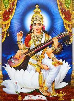 Goddess Saraswati playing Veena Hindu Goddess poster (20X16 inches) #840