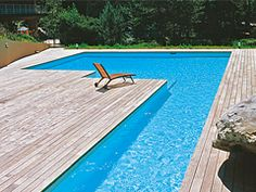L-Shape swimming pool - has a shallow side for wading and a deeper side for swimming laps