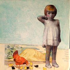 Little Red Hen  painting original vintage girl  by MaudstarrArt