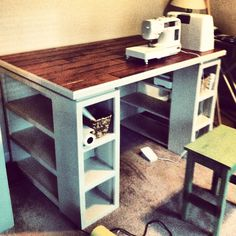 Anna white inspired craft table. Made by my hubby.http://ana-white.com/2014/01/modern-craft-table