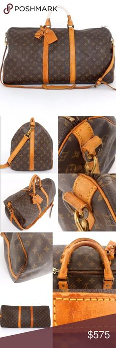 LV LOUIS VUITTON 55 bandouliere bag duffle travel Please read both listings for this bag! It's vintage and I have highlighted the flaws. Please read the picture descriptions as well. The strap was repaired by a professional Leather repair place called George's in Saint Paul.        🙏hopefully you'll have safe and fun travels with this amazing bag! 🌲🎁🎅🏼❄️️☃️❄️️.    I don't trade, sorry. And please only offer through the offer button! Thanks! Louis Vuitton Bags