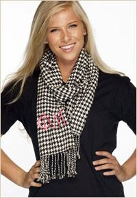 I mean, this phi mu houndstooth scarf would look wonderful with my blonde hair. Houndstooth Scarf, Ulm, Phi Mu, Sorority Life, Carnations, Hair Colour, Stay Warm, Birthday Wishes, Devon