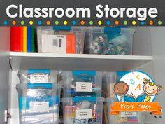 Tips and creative ideas for storage in your preschool, pre-k, or kindergarten classroom.