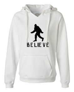 Medium White Women's Bigfoot Believe Sasquatch Squatch Deluxe Soft Fashion Hooded #Sweatshirt #Hoodie
