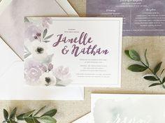 purple floral watercolor wedding invitations by DevonDesignCo