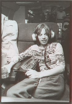 From the 1975 US tour-- shot by Christopher Sykes on the Stones' jet.