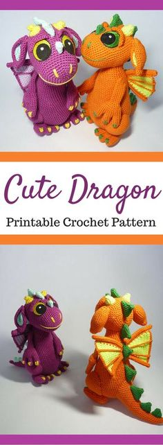 I love these cute little dragons! They make me want to learn how to crochet! Amigurumi Dragon Crochet Pattern Printable PDF #ad #amigurumi #amigurumidoll #amigurumipattern #amigurumitoy #amigurumiaddict #crochet #crocheting #crochetpattern #pattern #patternsforcrochet #printable #instantdownload #pdf #dragon #crochettoys