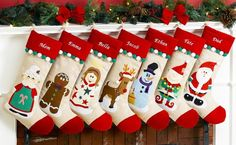 Personalized Christmas Stockings from Merry Stockings Christmas Countdown, Christmas Home, Christmas Holidays, Christmas Crafts, Christmas Decorations, Christmas Ornaments, Holiday Decor, Family Christmas, Christmas Mantles