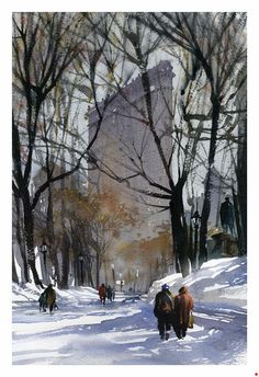 Madison Square Park - NYC by Thomas W. Schaller Watercolor ~ 22 inches x 14 inches