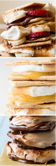 Lots of delicious s'mores ideas by Cooking Classy. Want to try them all!