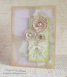handmade card  ... paper flowers from used papers ... whitewashing ... shabby chic ... sweet ...