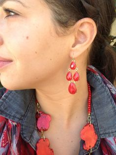 ONLY $19 Four stone red earrings
