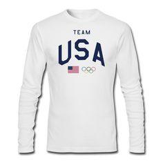 Amazon.com: Men's Usa Team Flag 2015 Olympics Rings T-shirts Long Sleeve White: Clothing