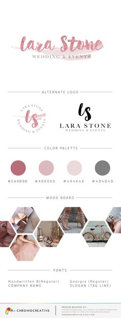 Premade Branding Kit, Premade Logo Design, Color Scheme, Fonts, Watermark, Brand Board, Mini Branding Kit - Rose Gold by ChromoCreative on Etsy