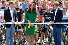 Prince Harry ,Prince William and Catherine, Duchess of Cambridge start the first stage of the 2014 Tour de France, a 190km stage between Leeds and Harrogate at harewood house  in Harrogate, England