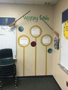 Harry Potter Classroom writing goals Plus Party Harry Potter, Hery Potter, Harry Potter Thema, Cumpleaños Harry Potter, Harry Potter Classroom, Harry Potter Display, Classroom Decor Themes, School Decorations, Classroom Design
