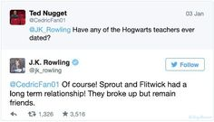 I never knew JK could or did ever talk so candidly about her characters. Wow! To say I blushed at reading this is an understatement, I never knew these things about Hogwarts and their inhabitants. Made me laugh so hard!