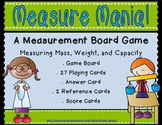 Measure Mania! is an easy to assemble, measuring mass and capacity board game. This game includes one game board,  2 reference cards/posters, an instructions page, a score card (for students to keep track of their points), an answer key, and 27 playing cards.