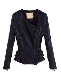 Vintage Lady Hem PU Leather Moto Jacket   Choies