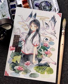 Anime Drawings Sketches, Manga Drawing, Manga Art, Cute Drawings, Manga Watercolor, Watercolor Illustration, Cute Art, Pretty Art, Estilo Anime