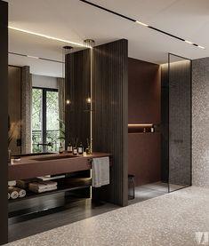 Modern apartment in Berlin - Dezign Ark (Beta) Bathroom Mirror Design, Bathroom Interior Design, Bathroom Trends, Master Bathroom, Bathroom Ideas, Brown Modern Bathrooms, Layout Design, Design Ideas, Ideas