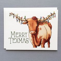 Merry Texmas Longhorn Christmas Card from Serious Creatures Online Art Store, Black Artwork, Unique Cards, Hand Illustration, Your Favorite, Paper Texture, Moose Art, Christmas Cards, Creatures