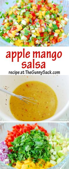 Apple Mango Chicken Recipe We love the fresh taste of Apple Mango Salsa! Try this easy recipe with chicken, with tacos or with chips! Healthy Snacks, Healthy Eating, Healthy Recipes, Apple Recipes, Vegetarian Recipes, Mango Salsa Recipes, Recipes With Guacamole, Recipes With Mango, Mango Chicken
