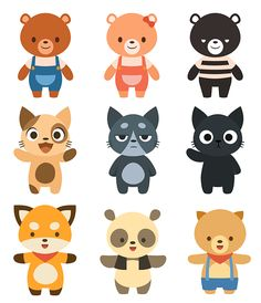 Vector character illustrations on behance векторные картинки Baby Animals, Cute Animals, Mascot Design, Cute Clay, Cartoon Characters, Vector Characters, Drawing Reference Poses, Animal Faces, Art For Kids