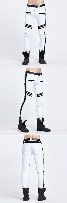 New Dropshipping High quality Mens Skinny Zipped Jeans Men White biker motorcycle Slim Jeans Men Casual Denim Pants Jogger Pants