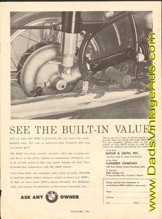 1961 BMW Motorcycle Driveshaft Swinging Arm Ad #e61da09