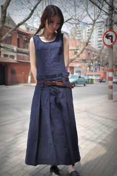 Blue Linen Dress/ Maxi Sundress Long Dress Gown / Maxi Kaftan Caftan/ Navy Dress…