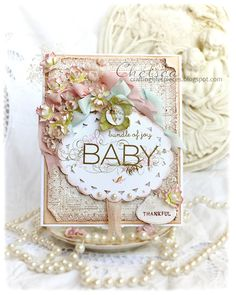 Crafting Life's Pieces: Baby Card and Lotus Flower Tutorial Use watercolor paper to make flowers. Baby Girl Cards, New Baby Cards, Pinterest Cards, Shabby Chic Cards, Card Making Tutorials, Beautiful Handmade Cards, Paper Cards, Paper Paper, Card Maker