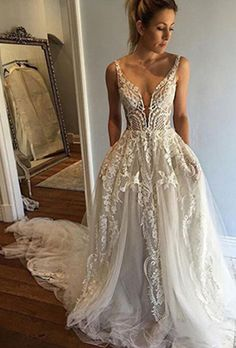 wedding dress,Deep V-Neck Wedding Dress,A-line Wedding Dress With Court Train,Ivory Sleeveless Appliques Wedding Dress with Lace,Beach Wedding Dress
